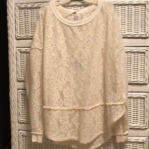 Free People Ivory Lace Sweater